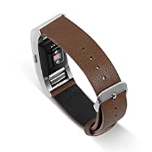 UMTELE Genuine Leather Band Replacement Strap with Metal Buckle Clasp for Fitbit Charge 2 HR, Small, Coffee