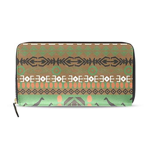 Womens Zipper Wallet Africa Art Giraffe Clutch Purse Card Holder Bag by WIHVE