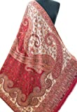 Red and Cream Large Wool Shawl Flowers Hand-Cut Kani Warm Pashmina Throw 80''x40''