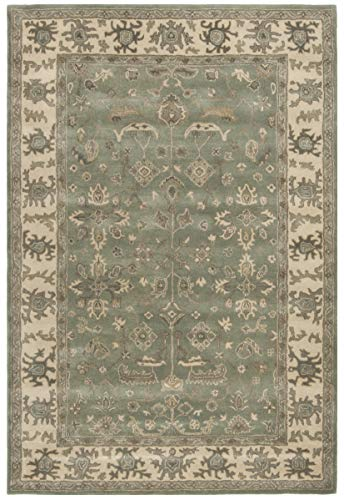 Safavieh Royalty Collection ROY721A Slate and Cream Traditional Oriental Wool Area Rug (6' x 9') - Collection Royalty Area Rug