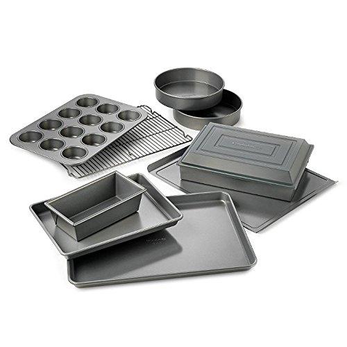 Calphalon 10 Piece Non Stick Bakeware Set Cake Pans Muffins Cooling Rack