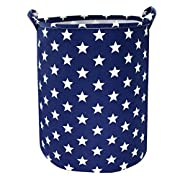 Jacone Cute Stars Pattern Design Laundry Hamper Ramie Cotton Fabric Waterproof Cylindric Storage Basket Bucket with Handles,Decorative and Convenient for Kids Bedroom (Blue)