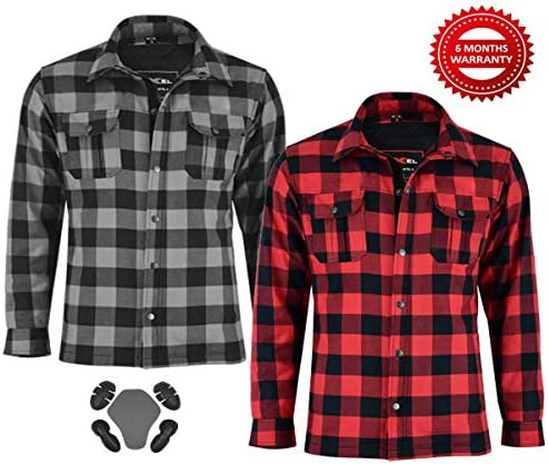 Motorbike Motorcycle Lumberjack Kevlar Shirt Fully Protected with Removable CE Armoured Premium Quality Flannel 2 Colors All Sizes Gray and Black, 3XL