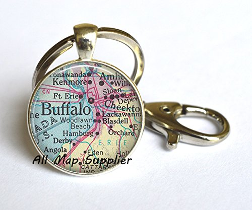 - Charming Keychain,Buffalo, New York map Key Ring, Buffalo map Keychain, vintage map jewelry, Buffalo Keychain, Buffalo Key Ring,A0271