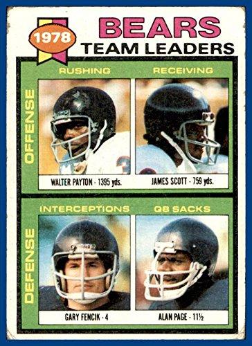 1979 Topps #132 Chicago Bears Walter Payton James Scott Gary Fencik Alan Page (poor, marked checklist) -