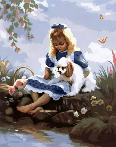 Prime Leader Frameless Diy Oil Painting, Paint by Number Kit 16x20 inch girl and dog