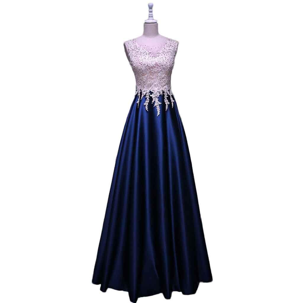 Dark bleu XL Robe de soirée Vintage sans Manches FantaisieTulle Mousseline Maxi Femme