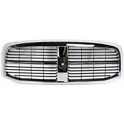 Grille for Dodge Full Size P/U 06-09 Horizontal Bar Insert Plastic Chrome Shell/Painted-Black Insert New Body Style