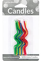 Creative Converting 12 Count Crazy Curl Birthday Cake Candles, Assorted