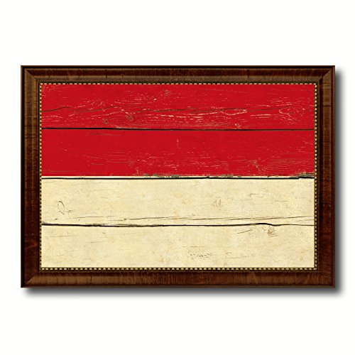 Indonesia Country Flag Vintage Canvas Print with Brown Picture Frame Gifts Home Decor Wall Art Decoration Artwork by SpotColorArt