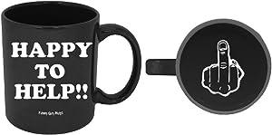 Funny Guy Mugs Happy To Help Ceramic Coffee Mug, Black, 11-Ounce