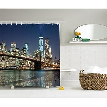 Ambesonne New York Shower Curtain Bath Decorations By Nyc City Skyline Brooklyn Bridge