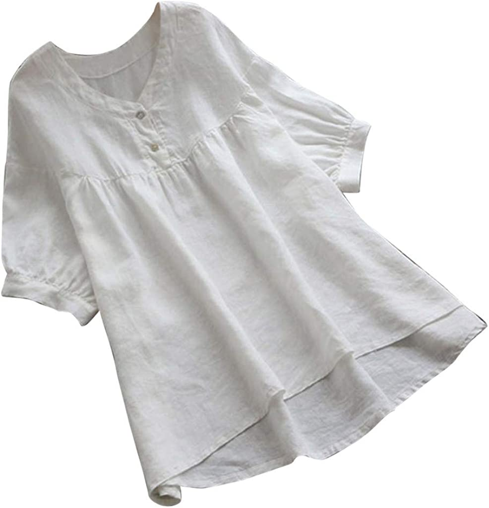 ♛TIANMI Women's Summer Vintage V-Neck Solid Short Sleeves Button Top T-Shirt Blouse,Women for Tops