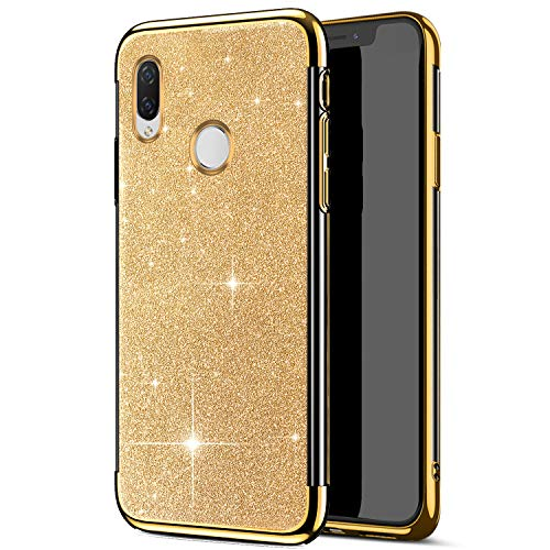 Price comparison product image MoreChioce Compatible with Huawei Honor Play Silicone Case, Huawei Honor Play Bling Bling Cover, Electroplating Silicone Bumper Case Ultra Slim Glitter Shiny Soft TPU Flexible Protective Case,  Gold