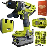 Ryobi P1813 18-Volt ONE+ Brushless Hammer Drill Kit Bundle with Battery, Charger, Tool Bag, 44 Piece Impact Driving Kit and Woodworking Book