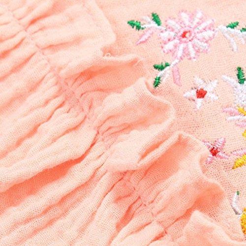 Unique Volants Couleur Ondulées Broder Fleurs Tutu Manches Princesse Col Robes Soirée Rayures Flounce À Mini Sans Adeshop Rose Pure Filles Chic Robe Rond De v5TF5q