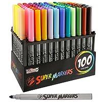 Juego de súper marcadores con 100 colores de marcador únicos - Puntas universales de punta de bala para líneas finas y de bala - Colores vivos y llamativos - Incluye un estante de almacenamiento de marcadores - Garantía de satisfacción del 100%