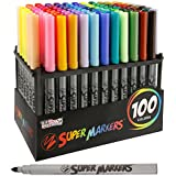 Super Markers Set with 100 Unique Marker Colors - Universal Bullet Point Tips for Fine and Bullet Lines - Bold Vibrant Colors - Includes a Marker Storage Rack - 100% Satisfaction Guarantee