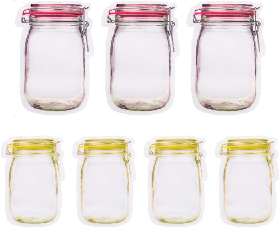 20 Pack Reusable Mason Jar Bottles Bags Cookie Jar Purse Food Storage Zip Lock Bags Kitchen Organizer Snacks, Bread, Cookies, Fresh Food Saver for Household Travel Camping, 10 Large & 10 Medium