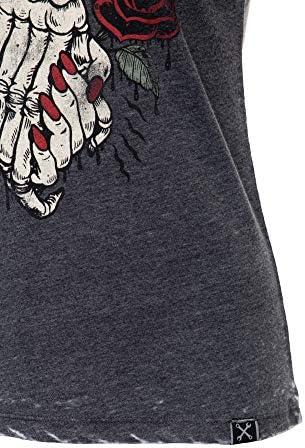 Queen Kerosin damska koszulka w stylu vintage | Enzymwash | nadruk z przodu Sweet Hearts: Odzież