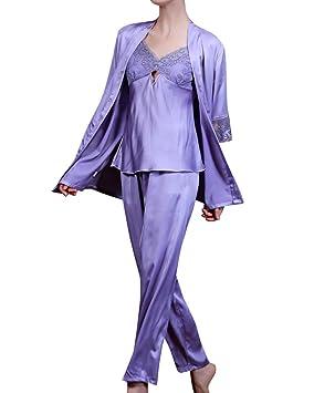 SaiDeng Mujer Albornoces Manga Corta Pijamas En Seda Bordado Batas De Casa: Amazon.es: Deportes y aire libre