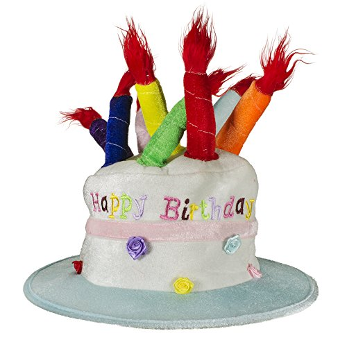 LED Happy Birthday Cake Hat with Light-up Candles for Kids ()