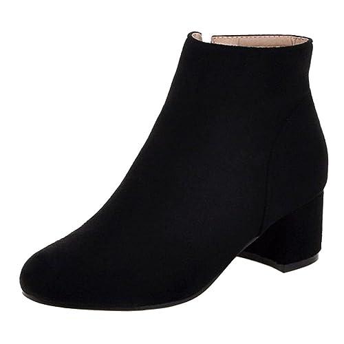 RAZAMAZA Botines de Tacon Ancho con Cremallera para Mujer: Amazon.es: Zapatos y complementos
