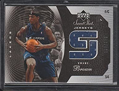 413bdfc47f5 2005 Sweet Shot Kwame Brown Lakers Game Used Jersey Basketball Card  SSJ-KW