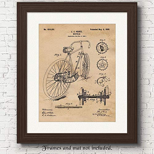 Vintage Racing Bicycle Patent Poster Prints, Set of 1 (11x14) Unframed Photo, Wall Art Decor Gifts for Home, Office, Man Cave, Student, Teacher, Team Cyclist & Triathlon Fan