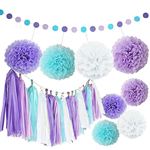 Purple And Turquoise Decorations (Kubert White Purple Lavender Turquoise Tissue Paper Pom Poms Flowers Tissue Tassel Garland Polka Dot Paper Garland Kit for Bridal Shower Snow or Sea Theme Mermaid Wedding Ball Party)