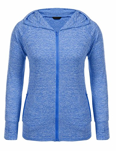 Zeagoo Women Lady Plus Size Autumn Winter Full Zip Stretchy Running Sports Workout and Yoga Hoodie Jacket Coat Activewear With Thumb Holes 16W-24W/XL-5XL,18 Plus,Blue