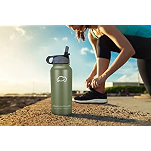 Stainless Steel Vacuum Insulated Water Bottle with Straw Lid and FREE paracord handle with metal carabiner - Keeps Hot & Cold Beverages for Hours - Thermos Double Walled - 32 oz.(1 Liter) - Army Green