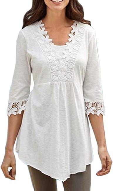 HongHu Camisa de casa Casual de Encaje para Mujer Blusa de algodón Tops Blanco 4XL: Amazon.es: Ropa y accesorios