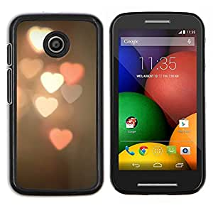 Dragon Case - FOR Motorola Moto E (1st Gen, 2014) - heart lights blurry pink white night - Caja protectora de pl??stico duro de la cubierta Dise?¡Ào Slim Fit