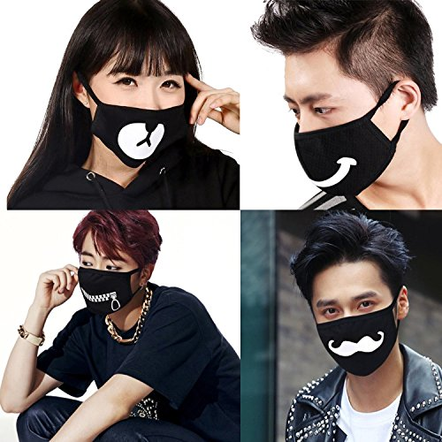 Muffle Mask Anti-Dust Anime Mouth Mask Cute Kaomoji Face Emoticon Earloop Cotton Surgical Mask for Kids Men and Women (Black 5) by QIN JU (Image #1)