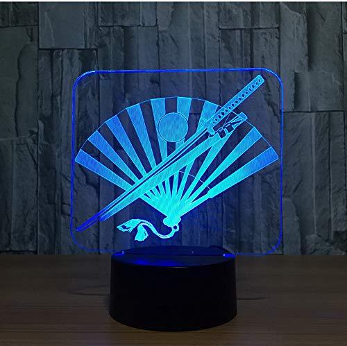 Japans samurai schwert fan 3d nachtlicht led bunte usb tischlampe led dekorative lampara innenlampe für geschenk