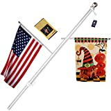 A-ONE 56' Tangle Free Aluminum Flagpole for Grommet or House - American US Flag Pole Kit with Anti-wrap Sleeve, Stainless Steel Rust Prevention Clip & Decorative Ball, Silver