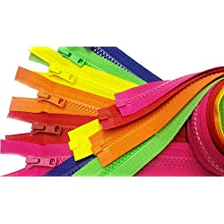ZipperStop Wholesale Authorized Distributor YKK Sale 24 Inch Sport YKK #5 Vislon Jacket Zipper (Assorted Summer-spring 6 Colors 516-Lipstick Pink 820-Atom Red 523-Nectar Orange 504-Lemon Yellow 536-Spring Green 029-Venatian Blue) Medium Weight Molded Plastic - Separating (6 zippers/pack)