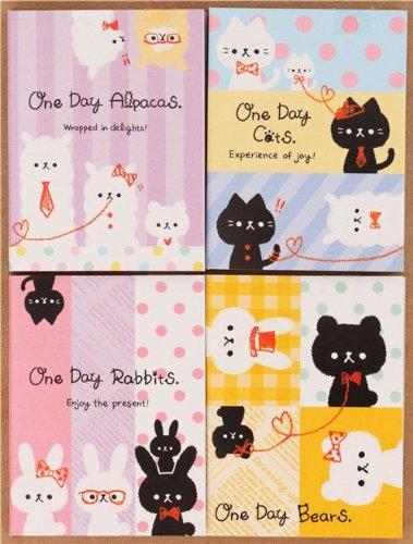 Libreta notas mini kawaii animal alpaca conejo oso gato 4 ud: Amazon.es: Juguetes y juegos