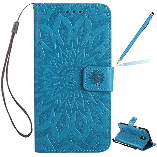 Trumpshop Smartphone Carcasa Funda Protección para Samsung Galaxy Note 5 [Marrón] 3D Mandala PU Cuero Caja Protector Billetera Choque Absorción Azul