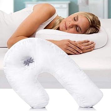 Almohada para Dormir de Lado con Forma de U, para Corregir la Columna Vertebral, reposacabezas Lateral, para Viajar, Suave, Anti-ronquidos, para ...