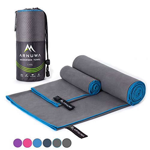 Arnuwa Microfiber Camping Travel Towel Quick Dry Ultra Absorbent Compact Antibacterial, Gray/Blue XL