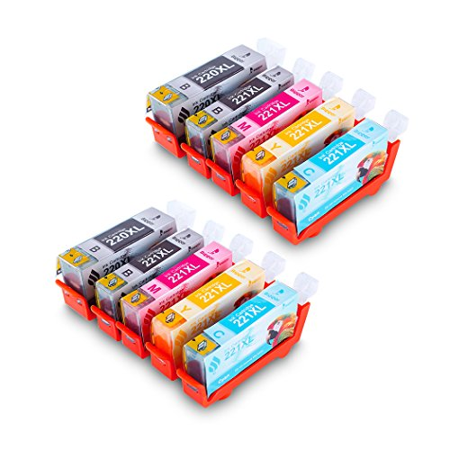 Bigger Canon PGI-220 CLI-221 XL Compatible Ink Cartridge Replacement Canon PIXMA MP540 MP620 MX860 MX870 MP980 (10 Pack-2 Large Black, 2 Small Black, 2 Cyan, 2 Magenta, 2 Yellow) ()