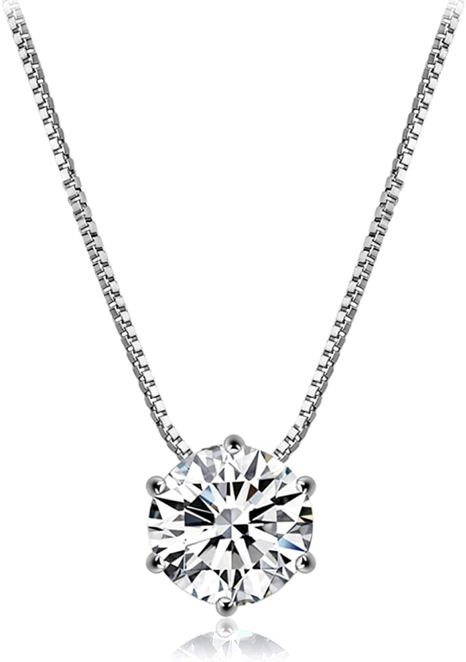 QueenAILSA 925 Plata Esterlina Solo Brillante Diamante Colgante Señoras Adornos para El Cuello Regalo De Cumpleaños De Vacaciones De Las Niñas