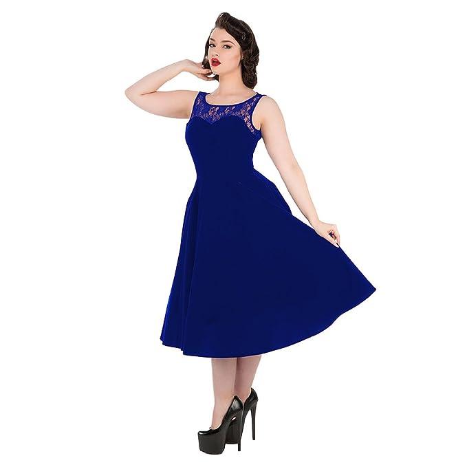 H&R Vestido de Cóctel Estilo Vintage Evening Romance con Encaje (Azul Eléctrico)