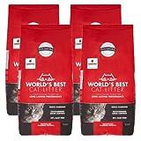 World's Best Cat Litter 28 lbs Odor Control Multiple Cat Clumping Formula, 4 Pack