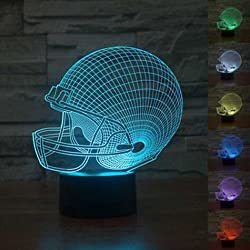 Football Helmet 3D Night Light, Timok 7 Colors Changing LED Desk Lamp Touch Control for Boys, Dad, Sports Fan Gift