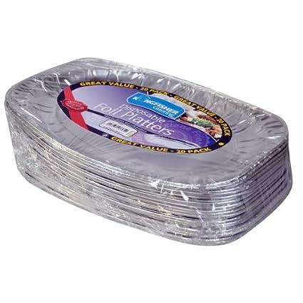 Kingfisher – Papel de Aluminio Desechables bandejas, Plata, 35,6 cm, Pack