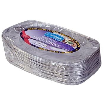Kingfisher - Papel de Aluminio Desechables bandejas, Plata, 35,6 cm, Pack de 20: Amazon.es: Hogar