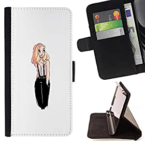BullDog Case - FOR/Samsung Galaxy A3 / - / fashion design blonde chick white woman /- Monedero de cuero de la PU Llevar cubierta de la caja con el ID Credit Card Slots Flip funda de cuer